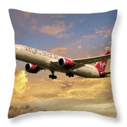 Virgin Atlantic Boeing 787 Dreamliner Throw Pillow