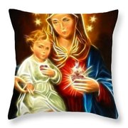 Virgin Mary And Baby Jesus Sacred Heart Throw Pillow