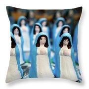 Virgin Mary Figurines Throw Pillow