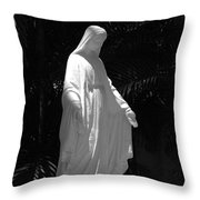 Virgin Mary In Black And White Throw Pillow