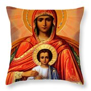 Virgin Mary Old Painting Throw Pillow
