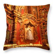 Virgin Mary Statue Candles Mission San Xavier Del Bac Throw Pillow