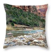 Virgin River In Zion Canyon Throw Pillow