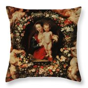 Virgin With A Garland Of Flowers Throw Pillow