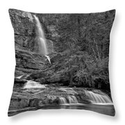 Virgina Falls In The Pool - Black And White Throw Pillow