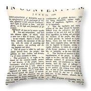 Virginia Constitution, 1776 Throw Pillow
