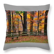 Virginia Country Roads - A Seat With A View - Autumn Colorfest No. 1 Near Mabry Mill - Floyd County Throw Pillow