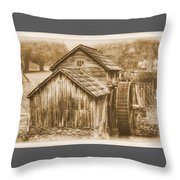 Virginia Country Roads - Mabry Mill No. 23 Sepia - Blue Ridge Parkway, Floyd County Throw Pillow
