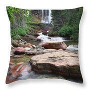 Virginia Falls - Glacier N.p. Throw Pillow