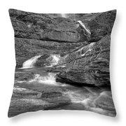 Virginia Falls Glacier Cascades - Black And White Throw Pillow