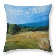 Virginia Hay Bales II Throw Pillow