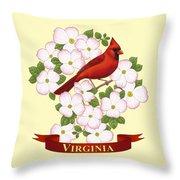 Virginia State Bird Cardinal And Flowering Dogwood Throw Pillow