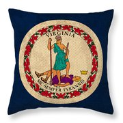 Virginia State Flag Art On Worn Canvas Edition 3 Throw Pillow