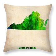 Virginia Watercolor Map Throw Pillow