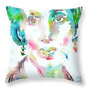 Virginia Woolf Watercolor Portrait Throw Pillow