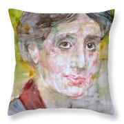 Virginia Woolf - Watercolor Portrait.7 Throw Pillow