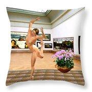 Virtual Exhibition - Dacanvasncing Girl Throw Pillow