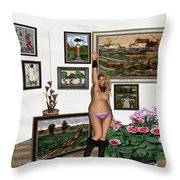 Virtual Exhibition - Girl With Boots Throw Pillow