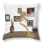 Virtual Exhibition - Statue Of Bonsai 1 Throw Pillow