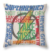 Virtues Of A Superhero Throw Pillow