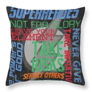Virtues Of Superheroes Throw Pillow