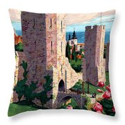 Visby Vintage Travel Poster Restored Throw Pillow