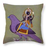 Vishnu On A Bird Throw Pillow