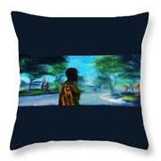 Visionary Roundabout Scene Throw Pillow