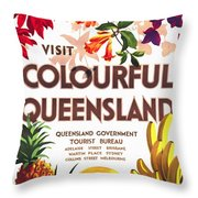 Visit Colorful Queensland - Vintage Poster Restored Throw Pillow