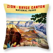 Visit Grand Canyon - Restored Throw Pillow