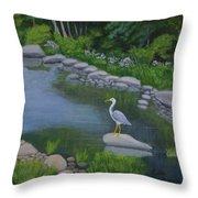 Visiting Heron Throw Pillow