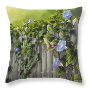 Visiting The Morning Glories Throw Pillow