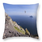 Visitors Admire Celtic Monastery, Skellig Michael, Looking To Little Skellig, County Kerry, Ireland  Throw Pillow