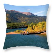 Visitors At Pikes Peak And Crystal Reservoir Throw Pillow