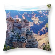 Visitors Dwarfed By Grand Canyon Vista Throw Pillow