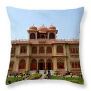 Visitors Wander Around Gardens Of Mohatta Palace Museum Karachi Sindh Pakistan Throw Pillow