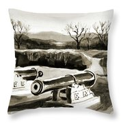 Visitors Welcome Bw Throw Pillow