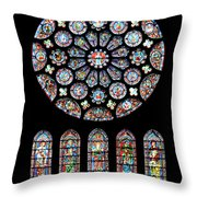 Vitraux - Cathedrale De Chartres - France Throw Pillow