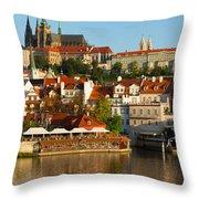Vitus Cathedral Over Vltava  Throw Pillow