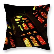 Vivacious Stained Glass Windows Throw Pillow