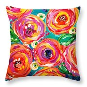 Vivid Flora Throw Pillow