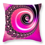 Vivid Pink Fractal Spiral Throw Pillow