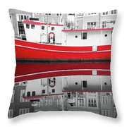 Vivid Rich Red Boat Throw Pillow