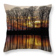 Vivid Sunset On The Lake In Olney Throw Pillow