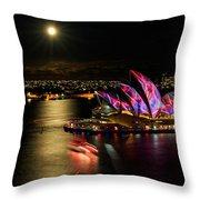 Vivid Sydney Under Full Moon Throw Pillow