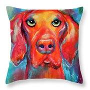 Vizsla Dog Portrait Throw Pillow