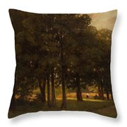 Vladimir Donatovich Orlovsky  Russian 1842  1914 Summer Landscape Throw Pillow