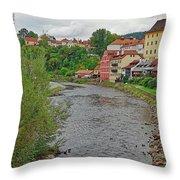Vltava River As It Runs Slowly Through Cesky Krumlov In The Czech Republic Throw Pillow