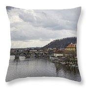 Vltava River Scene Throw Pillow