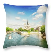 Notre Dame And River Seine Throw Pillow